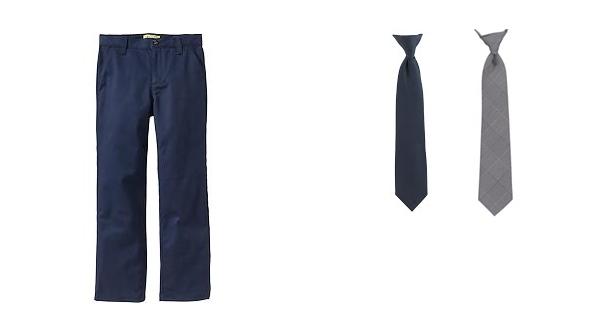 navy blue uniform pants, navy blue uniform tie and gray uniform tie