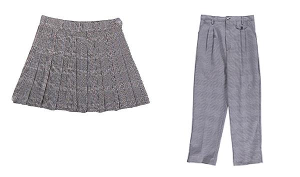 girl's gray uniform skirt and gray pants