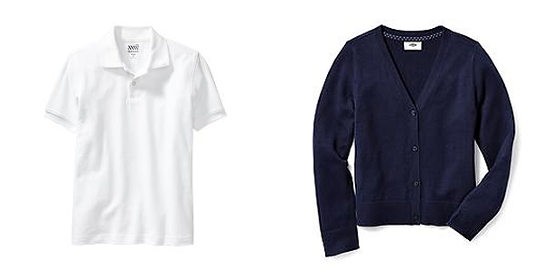 school uniform white polo top and navy blue v neck sweater