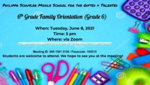 6th Grade Orientation Flyers