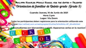 Grade 5 2021 Orientation in Spanish