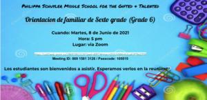 Screen 6th grade orientation flyer in Spanish