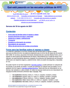 Family Newsletter in Spanish page 1