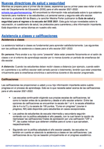 Family Newsletter in Spanish page 2